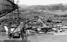 View from Transporter Bridge, Newport - Francis Firth collection Cymru, South Wales, Welsh, Newport, Old Photos, Paris Skyline, Past, Bridge, History