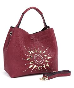 Love this Fabulous Age Burgundy Stud Sunburst Hobo by Fabulous Age on #zulily! #zulilyfinds