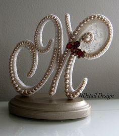 Wedding Cake Topper & Display Monogram Pearl by NDetailDesign