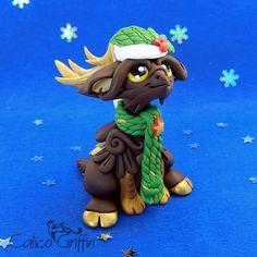 Christmas Reingriff - clay sculpture Premo Sculpey gift xmas figurine griffin santa gryphon clay dragon fantasy polymergriffin art reindeer