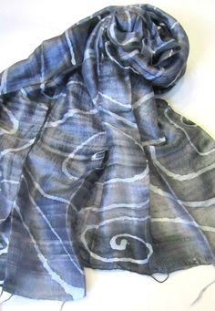Silk shawl-Handwoven-Hand dyed-Batik shawl-Silk accessories-Gift for her-Thai…