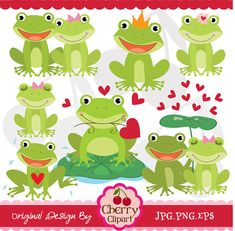 Sweet Froggie digital clipart setPersonal and by Cherryclipart, $3.50