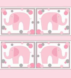 Pink Grey Gray Polka Dot Elephant Wall Border Decal Girl Nursery #decampstudios