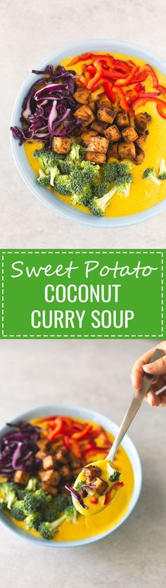(Vegan and GF) Sweet Potato Coconut Curry Soup - This sweet potato coconut curry soup is made with ingredients I always have in my kitchen, but feel free to use any other ingredient you've got on hand.