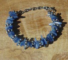 Blue Kyanite Stone Bracelet ~ Natural Stones ~ Ice Blue Semi Precious Stones ~ Bohemian Style ~ Healing Chakra Stones ~ Boho Blue ~ Unique by AudacityWear on Etsy