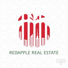 Playful logo featuring red parts combined together into apple that has building inside the parts. This logo is ideal for a real estate agency firm, home building firm, apartment building firm, commercial property developer business, urban planner business, etc. Related keywords: real estate, realestate, building, house, apple, new york, big apple, NY, new york city, New York.