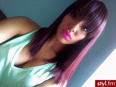 Burgundy hair with pink lips