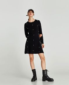 Image 1 of SKATER DRESS WITH PEARL BEADS from Zara