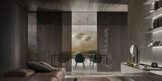 Daimon, sliding panels with brown aluminium structure. Transparent grey glass with layered brown decoration in the same finishing of the structure