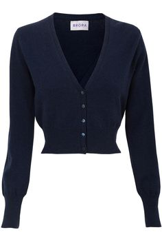 Cropped V Neck Cashmere Cardigan French Navy   Brora