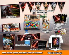 Star Wars Birthday Party Package, Printable Party Kit Customized with name - Invitation Banner Food Tent Labels Wrappers - Digital File