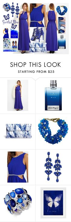 """""""Pantone 2016 Snorkel Blue"""" by ruaorlia13 ❤ liked on Polyvore featuring moda, Love 21, Salvatore Ferragamo, McQ by Alexander McQueen, Forever 21, Style & Co. ve Evive Designs"""