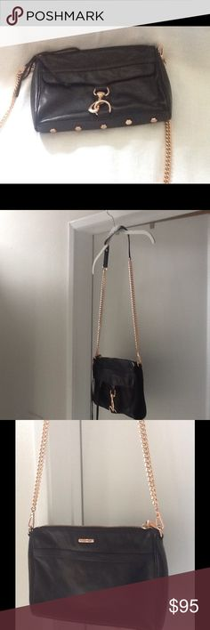 """Rebecca Minkoff Mini M.A.C. Crossbody Pre owned Rebecca Minkoff Mini M.A.C. Crossbody.  Very good condition.  Functioning front zipper pocket.  21"""" drop chain strap. Genuine leather. Custom gold hardware.  Print lining. Rebecca Minkoff Bags Crossbody Bags"""