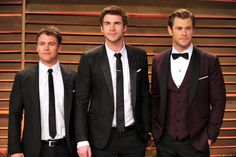 Pin for Later: Swoon Over Chris Hemsworth's Cutest Moments With His Brothers, Liam and Luke  Luke, Liam, and Chris made one seriously good-looking trio at the 2014 Vanity Fair Oscars party in LA.