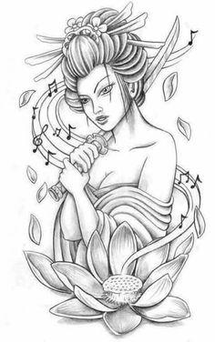 4 Tattoo, Tatoo Art, Body Art Tattoos, Girl Tattoos, Sleeve Tattoos, Tatoo Designs, Japanese Tattoo Designs, Japanese Tattoo Art, Geisha Tattoo Design