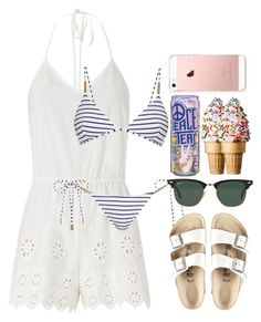 """""""Untitled #827"""" by londonexclusive ❤ liked on Polyvore featuring Miguelina, Melissa Odabash, Birkenstock and Ray-Ban"""