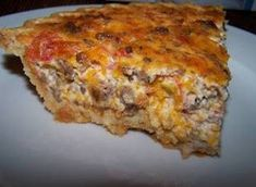 Sausage Quiche   1/2 pound Williams Sausage 1 1/2 cups shredded cheddar cheese 1 can Rotel tomatoes, drained  2 eggs 1/4 cup Ranch dre...