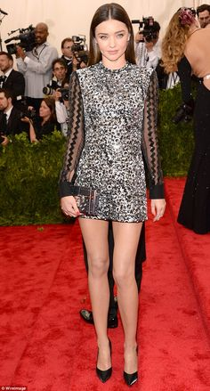 Leggy lady: Miranda Kerr bucked the trend of long and glamorous at the 2015 Met Gala on Mo...