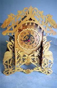 scroll saw fretwork clock with birds