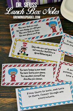 Add a little fun and humor to your kids lunch boxes with printable Dr. Seuss Lunch Box Notes!