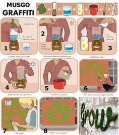 Definitely something to try! Moss graffiti.    chantalmallett:    Do you think it works???    See also:http://www.storiesfromspace.co.uk/data/html/mossgraffiti.html    Source  chantalmallett