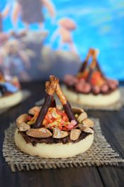 Cute Mini Campfire Cookies from Our Best Bites - These are easy for kids to assemble, so they would make a fun craft, too! Great for a camping, summer camp, outdoor, prehistoric / dinosaur and other birthday party themes