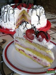 E asa de bun, ca mai vrei o felie - Tort cu capsuni si crema de lapte Sweets Recipes, Sweet Tooth, Cheesecake, Deserts, Food And Drink, Cooking, Kitchens, Sweets, Pie