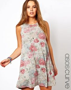 Image 1 ofASOS CURVE Exclusive Swing Dress In Faded Floral