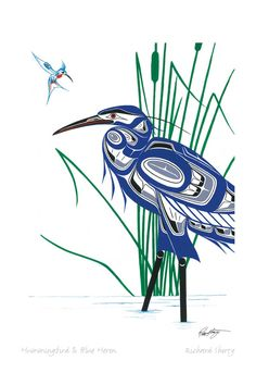 Hummingbird & Blue Heron by Richard Shorty - Click Image to Close American Indian Art, Native American Art, Art Haïda, Art Inuit, Indian Paintings, Art Paintings, Abstract Paintings, Abstract Canvas, Haida Art
