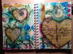 Art journal-inks, papers, paint, napkins, stencils