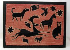 Hooked Rug ... Animals ... Antique