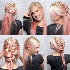 We love this pastel #pinkhair mohawk braid so much we couldn't pick just one photo. And with a client as cute as this willing to do a little photoshoot in the salon why should we? This was done by our shooting star Ashton. Watch out for more of her work in the soon! Love it Ashton!