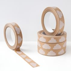 Cloudy Day paper gift tape by Pygmy Cloud. Cute brown kraft sticky tape which is great for packaging & wrapping gifts. Perfect edition to the cloud stationery collection! Duct Tape, Masking Tape, Washi Tapes, Brown Paper Packages, Paper Tape, Cloudy Day, Tape Crafts, Kraft Paper, Paper Gifts