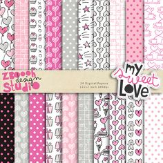 lovely set of 20 digital papers in stylish color combination with lovely romantic design, this set can be used as embellishments for invitations, cards, stationery, scrapbooking etc.