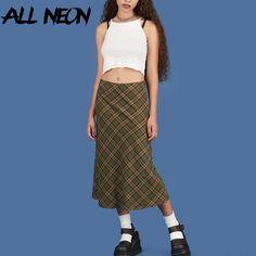 ALLNeon E girl Plaid High Waist Mermaid Skirts Women Streetwear Cotton Long Skirts Chic Vintage Y2K Style Ladies Bottoms Summer|Skirts| - AliExpress