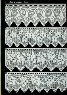 Duplet 138 Four beautiful filet crochet lace edgings with floral motifs. Crochet Lace Edging, Crochet Motifs, Crochet Borders, Thread Crochet, Crochet Blanket Patterns, Crochet Doilies, Crochet Stitches, Knitting Patterns, Cloth Patterns