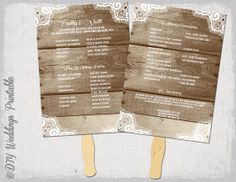 "Rustic Fan Wedding program template ""Wood & Lace"" DIY order of ceremony printable fan program YOU EDIT Word download wedding programs"