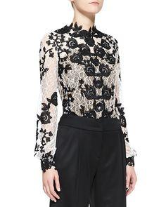 b2naw oscar de la renta long sleeve embellished lace blouse