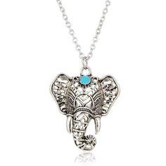Vintage Elephant Pendant Necklace – Boho Bijoux