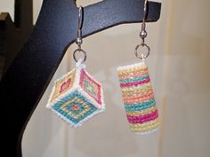Cross stitched earrings with many colors by lexidh, $10.00 USD