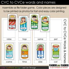 FREEBIE: This adorable file folder game formatted sort contains 8 different pairs of CVC / CVCe names and words, such as cat / Cate, pet / Pete, and Tim / time.  The CVCe Word pattern is also called Magic E, Silent E, or Bossy E.