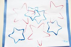"""♥ 4th of July or Flag Day Kids Star Cookie Cutter Print Craft ♥ *White paper *Blue Construction Paper 1"""" bigger than white paper *Red & Blue paint *Star Cookie Cutters *Plates *Glue. ~Start by pouring paint on to plates ~Dip cookie cutters into the paint and print onto paper. ~Let dry Completely ~Add glue to Blue construction paper ~Add your painting."""