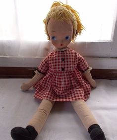 "Vintage Big Eyed Doll 22"" Red White Gingham  #Unbranded"