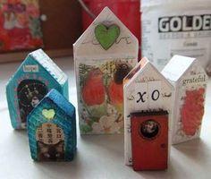 Wood blocks as houses