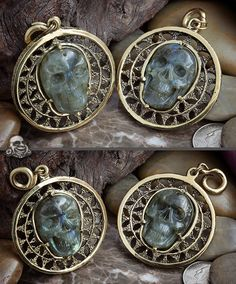Solid brass Puj Ju pendant dangles with labradorite skulls