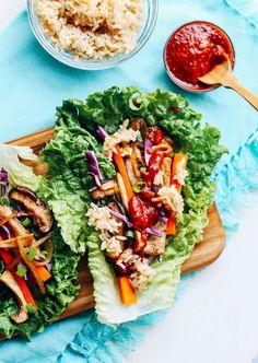 Vegan Bulgogi Lettuce Wraps- a vegan version of traditional Korean BBQ that will…