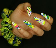Day 148: Smoke and Neon Splash Nail Art - - NAILS Magazine