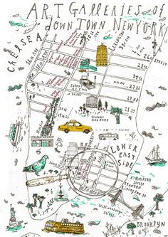 Downtown New York Art gallery map  by camelgeese I love this hand drawn birds eye view of new york. Little things that are all around new york have been blown up, this artist must notice the little things.