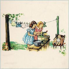 laundryday.quenalbertini: Little girls washing doll clothes