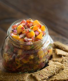 Peach Salsa with Raw Veggie Crackers -Rawmazing